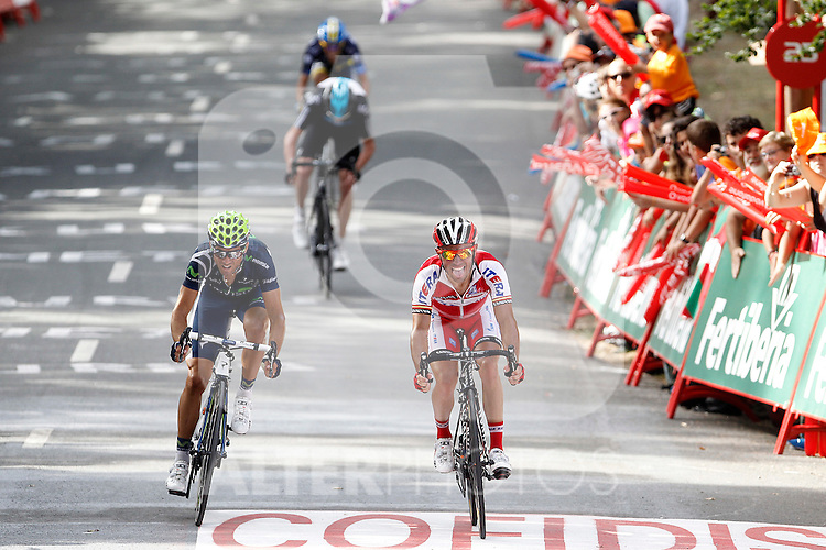 Alejandro Valverde (1st) (L), Joaquin Purito Rodriguez (2nd) at the finish line of the stage of La Vuelta 2012 between Faustino V and Eibar (Arrate).August 20,2012. (ALTERPHOTOS/Acero)