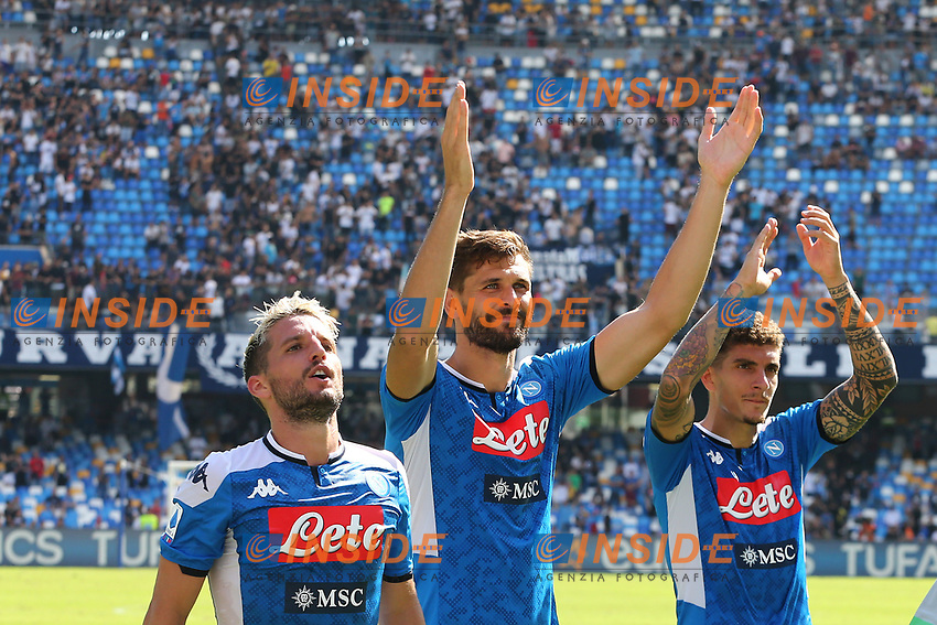 Fernando Llorente of Napoli and Dries Mertens, Giovanni Di Lorenzo of Napoli celebrate at the end of the match<br /> Napoli 29-9-2019 Stadio San Paolo <br /> Football Serie A 2019/2020 <br /> SSC Napoli - Brescia FC<br /> Photo Cesare Purini / Insidefoto