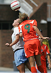 24 September 2006: Miami's Kristen Chapman (9) and UNC's Kristi Eveland (l). The University of North Carolina Tarheels defeated the University of Miami Hurricanes 6-1 at Fetzer Field in Chapel Hill, North Carolina in an NCAA Division I women's soccer game.
