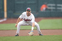 Auburn Tigers third baseman Julien Eduoard (10) on defense during Game 7 of the NCAA College World Series against the Louisville Cardinals on June 18, 2019 at TD Ameritrade Park in Omaha, Nebraska. Louisville defeated Auburn 5-3. (Andrew Woolley/Four Seam Images)