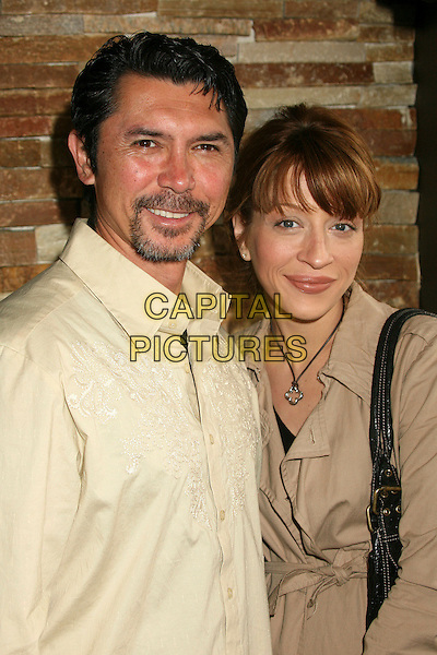 LOU DIAMOND PHILLIPS & YVONNE BOISMIER.PEN USA and WordTheatre's 2007 Benefit Brunch at Aphrodisiac Restaurant, Los Angeles, California, USA..May 20th, 2007.half length goatee facial hair beige yellow.CAP/ADM/BP.©Byron Purvis/AdMedia/Capital Pictures