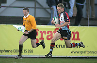 Harlequins winger Jonny Lowe races for the corner during the First Trust Senior Cup Final at Ravenhill. Result - Dungannon 27pts Harlequins 10pts.