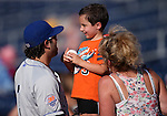 Rylan Sandoval, with the Las Vegas 51s, talks with his nephew Kaden Frank before a Triple-A baseball game against the Reno Aces in Reno, Nev., on Sunday, July 21, 2013. The 51s won 15-8.<br /> Photo by Cathleen Allison