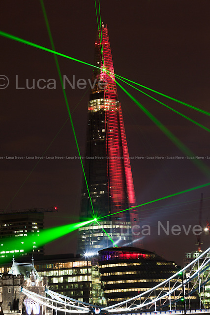 "London, 05/07/2012. The tallest skyscraper of Western Europe (309.6 meters - 1,016 ft), ""The Shard"", was inaugurated today (using a large laser light show) in London Bridge area. The 72 habitable floors building was designed in 2000 by the Italian architect Renzo Piano and founded by a consortium of Qatari investors."