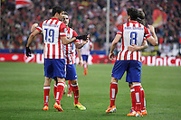 Atletico de Madrid´s Raul Garcia celebrates a goal with Diego Costa, Koke and Arda Turan during 16th Champions League soccer match at Vicente Calderon stadium in Madrid, Spain. March 11, 2014. (ALTERPHOTOS/Victor Blanco)