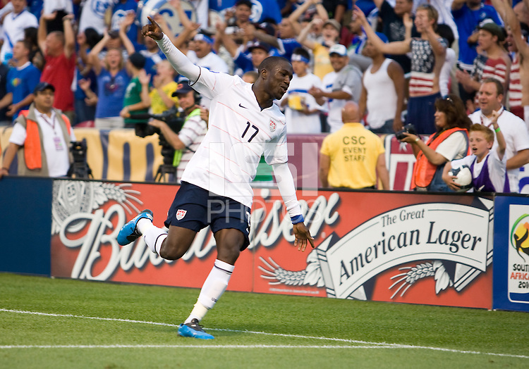 Jozy Altidore celebrates his goal that was called back, USA 2-1 over El Salvador in a CONCACAF World Cup qualifying match at Rio Tinto Stadium, in Sandy Utah, Saturday, September 5, 2009.