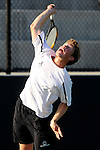26 MAY 2011: Joey Fritz of Amherst serves the ball during the Division III Men's Tennis Championship held at the Biszantz Family Tennis Center and Pauley Tennis Complex in Claremont, CA. Amherst defeated Emory 5-2 for the national title. Stephen Nowland/NCAA Photos