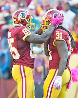Washington Redskins tight end Vernon Davis (85) and running back Matt Jones (31) celebrate their team's 27 - 20 victory  against the Philadelphia Eagles at FedEx Field in Landover, Maryland on Sunday, October 16, 2016.<br /> Credit: Ron Sachs / CNP /MediaPunch