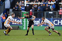 Rhys Priestland of Bath Rugby takes on the Wasps defence. Heineken Champions Cup match, between Bath Rugby and Wasps on January 12, 2019 at the Recreation Ground in Bath, England. Photo by: Patrick Khachfe / Onside Images