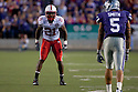 October 07, 2010: Nebraska cornerback Prince Amukamara (21) lined up against Kansas State wide receiver Brodrick Smith (5). Amukamara had 6 total tackles against the Wildcats at the Bill Snyder Family Stadium in Manhattan, Kansas.  Nebraska defeated Kansas State 48 to 13.