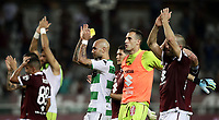 Calcio, Serie A: Torino - Sassuolo, Olympic stadium Grande Torino, August 25, 2019.<br /> Torino's players celebrate after winning 2-1 the Italian Serie A football match between Torino and Sassuolo at Olympic stadium Grande Torino, August 25, 2019.<br /> UPDATE IMAGES PRESS/Isabella Bonotto