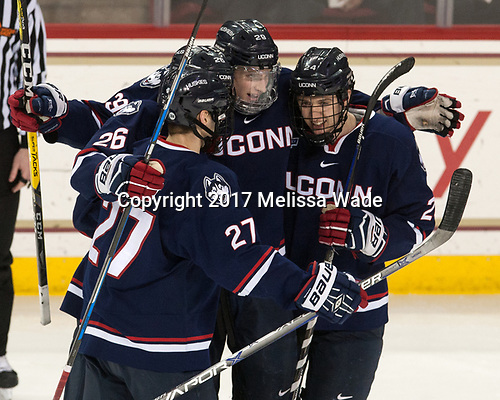 Maxim Letunov (UConn - 27), Philip Nyberg (UConn - 26), Tage Thompson (UConn - 29), Benjamin Freeman (UConn - 24) - The Boston College Eagles defeated the visiting UConn Huskies 2-1 on Tuesday, January 24, 2017, at Kelley Rink in Conte Forum in Chestnut Hill, Massachusetts.
