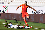 Yu Dabao of China (R) jumps to avoid Daniel Tagoe of Kyrgyz Republic during the AFC Asian Cup UAE 2019 Group C match between China (CHN) and Kyrgyz Republic (KGZ) at Khalifa Bin Zayed Stadium on 07 January 2019 in Al Ain, United Arab Emirates. Photo by Marcio Rodrigo Machado / Power Sport Images