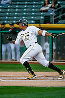 Jefry Marte (24) of the Salt Lake Bees at bat against the Memphis Redbirds in Pacific Coast League action at Smith's Ballpark on May 24, 2016 in Salt Lake City, Utah. The Bees defeated the Redbirds 7-5. (Stephen Smith/Four Seam Images)