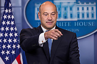 Director of the National Economic Council and chief economic advisor to President Donald J. Trump Gary Cohn takes questions from reporters in the White House Press Briefing Room in Washington, DC about the President's proposed tax reform plan on Thursday, September 28, 2017.<br /> Credit: Alex Edelman / CNP /MediaPunch