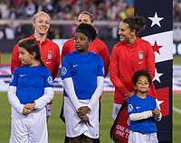 , FL - : Becky Sauerbrunn #4, Ashlyn Harris #18 and Carli Lloyd #10 of the United States line up during a game between  at  on ,  in , Florida.