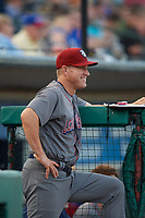 Lehigh Valley IronPigs bench coach Wes Helms (18) in the dugout during a game against the Rochester Red Wings on September 1, 2018 at Frontier Field in Rochester, New York.  Lehigh Valley defeated Rochester 2-1.  (Mike Janes/Four Seam Images)