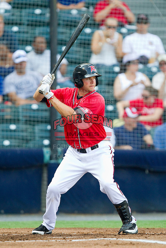 Wes Hodges #18 of the Richmond Flying Squirrels at bat against the Harrisburg Senators in game one of a double-header at The Diamond on July 22, 2011 in Richmond, Virginia.  The Squirrels defeated the Senators 3-1.   (Brian Westerholt / Four Seam Images)