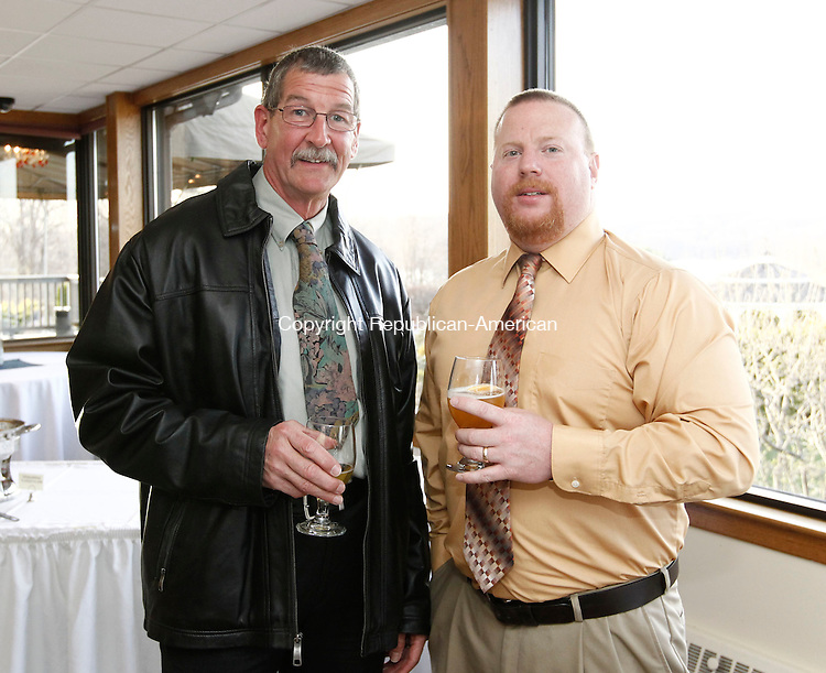 Wolcott, CT- 21 April 2014-042114CM12- SOCIAL MOMENTS--- Left to right, John O'Dea and Matt Howard both with Wolcott Volunteer Ambulance,  photographed during The Exchange Club of Wolcott Public Service Awards dinner at Mahan's Lakeview in Wolcott on Monday.   Christopher Massa Republican-American