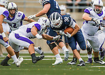 8 October 2016: Middlebury College Panther Running Back Drew Jacobs, a Junior from Marblehead, MA, rushes for yardage against the Amherst College Purple & White at Alumni Stadium in Middlebury, Vermont. The Panthers edged out the Purple & While 27-26. Mandatory Credit: Ed Wolfstein Photo *** RAW (NEF) Image File Available ***