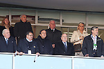 18 JUN 2010: FIFA president Sepp Blatter (seated, right) and UEFA president Michel Platini (seated, second from right) among others in the box seats. The Slovenia National Team tied the United States National Team 2-2 at Ellis Park Stadium in Johannesburg, South Africa in a 2010 FIFA World Cup Group C match.