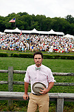 USA, Tennessee, Nashville, Iroquois Steeplechase, a spectator track side on raceday