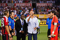 New York Yankees closing pitcher Mariano Rivera conducts the coin toss. Real Madrid defeated A. C. Milan 5-1 during a 2012 Herbalife World Football Challenge match at Yankee Stadium in New York, NY, on August 8, 2012.