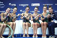 September 2, 2017 - Pesaro, Italy - USA group, kiss & cry and hearts at 2017 World Championships Pesaro, Italy.