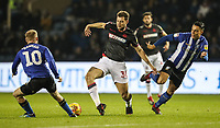 Bolton Wanderers' Yanic Wildschut competing with Sheffield Wednesday's Barry Bannan and Joey Pelupessy <br /> <br /> Photographer Andrew Kearns/CameraSport<br /> <br /> The EFL Sky Bet Championship - Sheffield Wednesday v Bolton Wanderers - Tuesday 27th November 2018 - Hillsborough - Sheffield<br /> <br /> World Copyright &copy; 2018 CameraSport. All rights reserved. 43 Linden Ave. Countesthorpe. Leicester. England. LE8 5PG - Tel: +44 (0) 116 277 4147 - admin@camerasport.com - www.camerasport.com