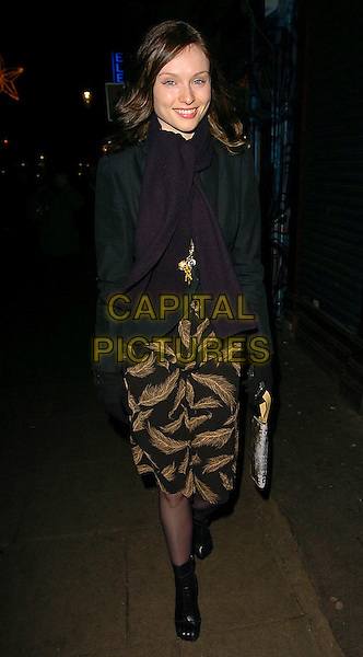 SOPHIE ELLIS BEXTOR.Grand Classics - Annie Hall - private VIP screening at the Electric Cinema Cinema, London, UK..December 12th, 2005.Ref: CAN.full length black jacket glove feather pattern print skirt boots .www.capitalpictures.com.sales@capitalpictures.com.©Capital Pictures