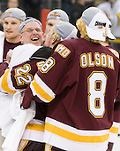"Dale ""Hoagie"" Haagenson (Duluth - Manager), Mike Connolly (Duluth - 22), Drew Olson (Duluth - 8) - The University of Minnesota-Duluth Bulldogs celebrated their 2011 D1 National Championship win on Saturday, April 9, 2011, at the Xcel Energy Center in St. Paul, Minnesota."