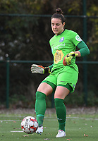 20191116 – WONDELGEM, BELGIUM : Gent's goalkeeper Nicole Studer  pictured during a women soccer game between AA Gent Ladies and Eendracht Aalst in the ¼  quarter finals of the Belgium Women's Cup Competition  season 2019-2020 , saturday 16 th November 2019 at the Neptunus site stadium in Wondelgem,  Gent  , Belgium  .  PHOTO SPORTPIX.BE | DIRK VUYLSTEKE