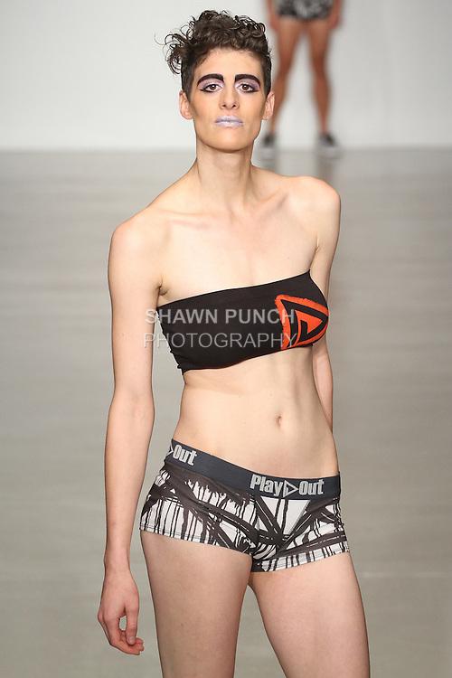 Model walks runway in outfit from the Play Out Underwear Spring Summer 2015 collection by Sylvie Lardeux and Abby Sugar, during LingerieFW Spring Summer 2015.