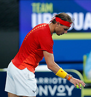 6th January 2020; RAC Arena, Perth, Western Australia; ATP Cup Australia, Perth, Day 4; Spain versus Uruguay; Rafael Nadal of Spain about to serve to Pablo Cuevas of Uruguay - Editorial Use