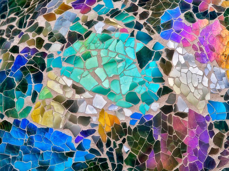 Close up of mosaic glass gazing ball garden feature.  Oregon