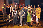 """Reeve Carney, Eva Noblezada, Andre de Shields, Patrick Page, Amber Gray, David Neumann, Anais Mitchell and Rachel Chavkin with the cast during the Broadway Press Performance Preview of """"Hadestown""""  at the Walter Kerr Theatre on March 18, 2019 in New York City."""