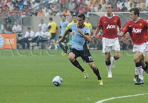 28 July 2010: Sebastien Le Toux of the MLS All-Stars drives the ball across the field away from Manchester United during the MLS All-Star game. Manchester United defeated the MLS All-Stars 5-2 at Reliant Stadium in Houston, TX
