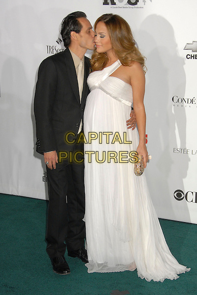 MARC ANTHONY & JENNIFER LOPEZ.2007 Movies Rock Celebration Presented by Conde Nast Media Group at the Kodak Theatre, Hollywood, California USA, 2 December 2007..full length white dress pregnant kissing married husband wife.CAP/ADM/BP.©Byron Purvis/AdMedia/Capital Pictures.