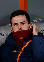 Calcio, quarti di finale di Coppa Italia: Roma vs Juventus. Roma, stadio Olimpico, 21 gennaio 2014.<br /> AS Roma midfielder Miralem Pjanic, of Bosnia, sits on the bench during the Italian Cup round of eight final football match between AS Roma and Juventus, at Rome's Olympic stadium, 21 January 2014.<br /> UPDATE IMAGES PRESS/Isabella Bonotto