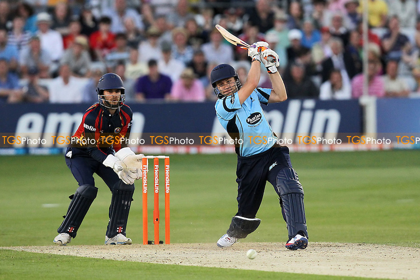 James Foster looks on as Luke Wright hits out for Sussex - Essex Eagles vs Sussex Sharks - Friends Life T20 Cricket at the Ford County Ground, Chelmsford, Essex - 28/06/12 - MANDATORY CREDIT: Gavin Ellis/TGSPHOTO - Self billing applies where appropriate - 0845 094 6026 - contact@tgsphoto.co.uk - NO UNPAID USE.