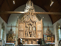 Germany, Baden-Wuerttemberg, Tauber Valley, Creglingen: Riemenschneider-Altar at God's church, retable of Virgin Mary and two side altars | Deutschland, Baden-Wuerttemberg, Taubertal, Creglingen: Riemenschneider-Altar in der Hergottskirche, Marien-Retabel und zwei Seitenaltaere