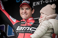 Greg Van Avermaet (BEL/BMC) &amp; daughter on the podium<br /> <br /> 72nd Omloop Het Nieuwsblad 2017
