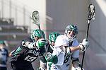 La Canada Flintridge, CA 03/16/13 - Doug Strazza (De La Salle #28), Kyle Anderson (Coronado #19) and Conner Schulte (Coronado #32) in action during the De La Salle vs Coronado lacrosse game at St Francis High School.  De La Salle defeated Coronado 8-5.