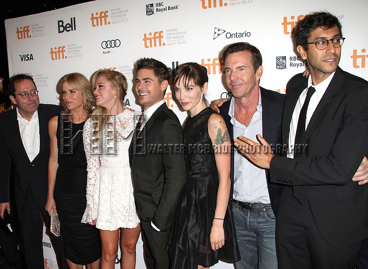 Co-President of Sony Pictures Classics Michael Barker, actors Kim Dickens, Maika Monroe, Zac Efron, writer Hallie Elizabeth Newton and actor Dennis Quaid with Director Ramin Bahrani attending the The 2012 Toronto International Film Festival.Red Carpet Arrivals for 'At Any Price' at the Princess of Wales Theatre in Toronto on 9/9/2012