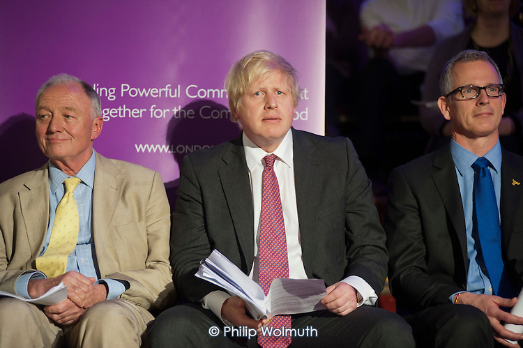 London Mayoral candidates Ken Livingstone, Boris Johnson and Brian Paddick.  London Citizens Mayoral Accountability Assembly, Central Hall, Westminster.
