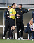Jack Ross argues with referee Barry Cook after Colin Nish's red card