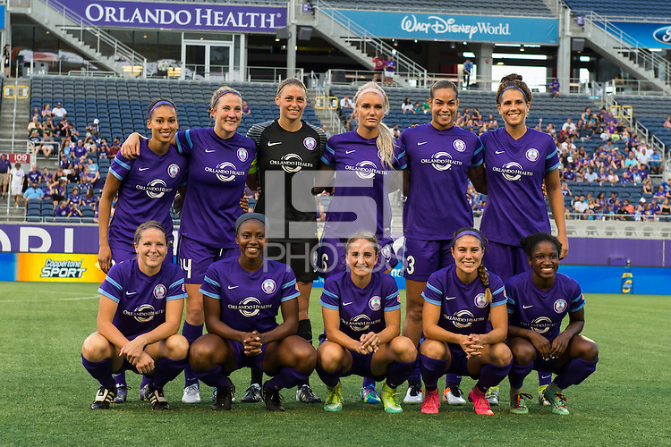 Orlando, FL - Saturday July 16, 2016: Orlando Pride Starting XI prior to a regular season National Women's Soccer League (NWSL) match between the Orlando Pride and the Chicago Red Stars at Camping World Stadium.