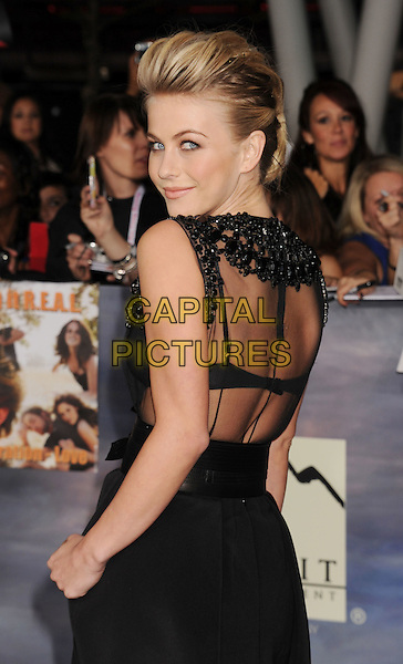 "Julianne Hough.""The Twilight Saga: Breaking Dawn - Part 2"" Los Angeles Premiere held at Nokia Theatre L.A. Live, Los Angeles, California, USA..November 12th, 2012.half length dress sheer sleeveless black  belt hair slicked back behind rear looking over shoulder top skirt.CAP/ROT/TM.©Tony Michaels/Roth Stock/Capital Pictures"
