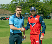 Regional Series - Knights V Warriors - Grange CC - captains Richie Berrington and Preston Mommsen (right) shake hands after the toss -- picture by Donald MacLeod - 28.04.19 - 07702 319 738 - clanmacleod@btinternet.com - www.donald-macleod.com