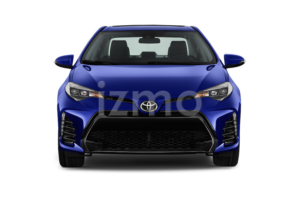 Car photography straight front view of a 2017 Toyota Corolla XSE-AT 4 Door Sedan Front View